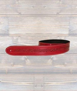 Leathergraft Celtic Embossed Guitar Strap - Red