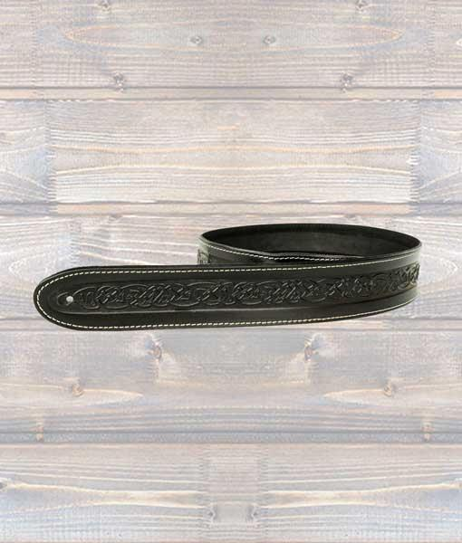 Leathergraft Celtic Embossed Guitar Strap - Black
