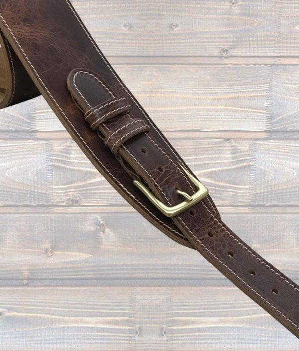 Leathergaft Road Worn Leather Guitar Strap with Buckle - Brown