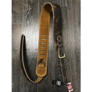 Leathergraft Road Worn Leather Guitar Strap with Buckle - Taupe