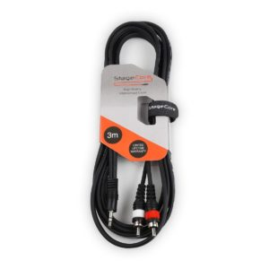 Stagecore 3m 3.5mm Stereo Jack Plug - 2 x RCA Plugs OFC Cable - Black