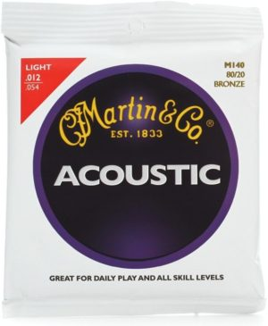 Martin M140 Traditional 80/20 Bronze Acoustic Guitar Strings, Light, 12-54 (5 Pack)