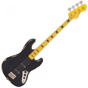Vintage Icon VJ74 Bass Guitar - Distressed Black