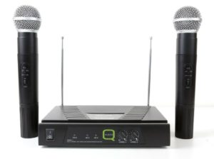 Q Audio QWM11 HH Twin VHF Microphone System 173.8/175.0Mhz with case
