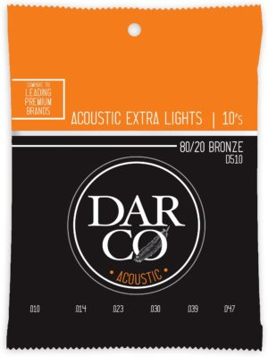 Darco by Martin 80/20 Bronze Acoustic Guitar Strings - 10-47 D510 6 Pack