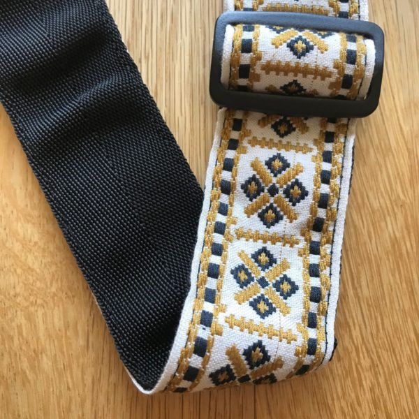 Leathergraft Jacquard Aztec Pattern Guitar Strap - White/Black/Yellow