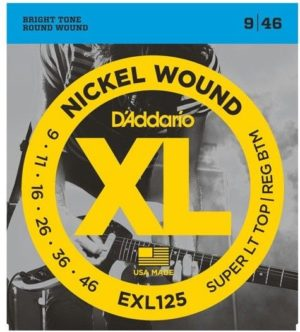 D'Addario EXL125 Nickel Wound Electric Guitar Strings -Super Light Top/Reg Bottom 9-46