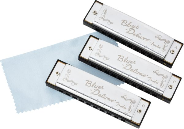Fender Blues Deluxe Harmonicas 3-Pack with Case - C, G and A Keys