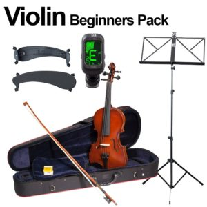 Hidersine + TGI Violin Beginners Pack - Inc Case, Bow, Music Stand and More